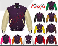 Purple Varsity  Letterman Wool Jacket with Real Leather Sleeves XS-4XL