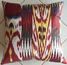 Kissen Uzbeki Ikat Seide Baumwolle Oriental Pillow Cushion Almohada Silk  Cotton