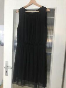 Hallhuber Seide Kleid Gr. 42 Schwarz