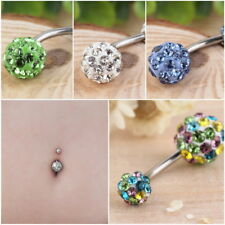 1PC Navel Belly Button Bar Ring Barbell Rhinestone Crystal Ball Body Piercing AZ