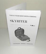 Smith Corona Skyriter Portable Typewriter Instruction Manual Reproduction