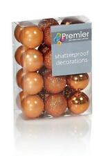48 (2x24) Copper Mix Shatterproof Baubles Christmas Tree Decorations 30mm