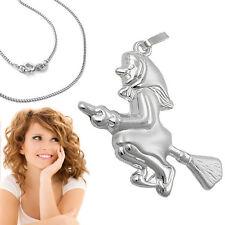 Damen Hexchen Motiv Anhänger Hexe Besen Echt Silber 925 mit Kette Länge wählbar