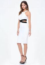 BEBE White Cut Out Midi Dress S Women
