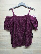 NEW A. Byer Plus Size 2X Purple Flocked Off Shoulder Top Blouse NWT