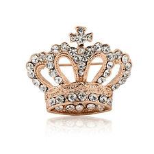 Fashion Rhinestone Crystal Gold Plated Cross Crown Brooch Pin Wedding Gift