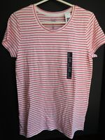 NWT GAP Women's Favorite Crew Neck T-Shirt Pink Striped XS Free Shipping New