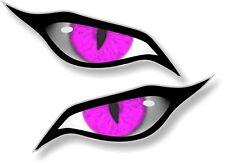 Pair Of EVIL Eyes Eye in PINK vinyl car Motorbike Helmet Sticker Decal 70x30mm