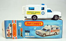 "Matchbox SF Nr.41C Ambulance ""EMS"" Aufkleber top in Box"