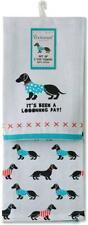 Dos Dachshund Azul Perro Perros 100% Algodón Bordado Té Plato Toallas Regalo