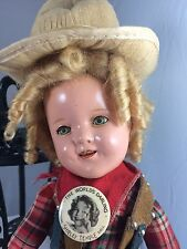 "1930s 11"" Ideal Shirley Temple Texas Ranger Composition Doll Cowgirl! B"
