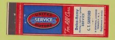 Matchbook Cover - Delco Remy Servie CT Sanford Tenafly NJ United Motors