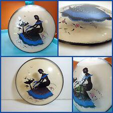 VTG Antique Art Deco Reverse Paint Silhouette Convex Dome Glass Lady Bird Bath