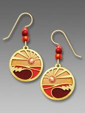 Adajio Earrings Sunset Red Orange Oval Disc with 'Foaming Waves' Overlay & Beads