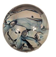 Eickholt Blown Art Glass Paperweight Blue Abstract Controlled Bubble Smokey Tint