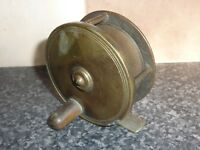 "VINTAGE HEAVY BRASS FISHING REEL 3"" DIAMETER WITH FIXED RATCHET"