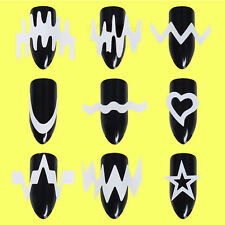 6 Sheets French Edge Tip Guides White Star Heart Wave Line Stencil Sticker Tool