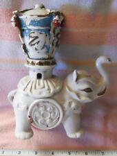 Vintage White China Porcelain Ceramic Figural Elephant Censer Incense Burner