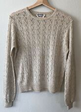 New listing Vintage Joyce Womens M Sweater Open Loose Knit Gold Sparkle Long Sleeve