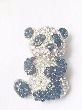 ARGENTO CON ZIRCONI CZ Diamante Cristallo Panda Bear Shape Spilla Placcato Rodio