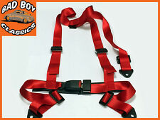 3 Point RED Racing Seat Belt Safety Harness Adjustable Straps Universal Design