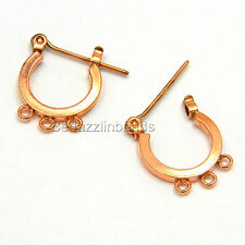 Pair of Shiny Copper Hoop Earring Findings With 3 Charm Loops & Latch Closure