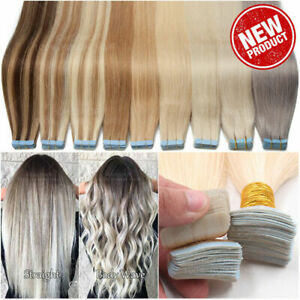 Seamless Tape in Skin Weft 100% Real Human Hair Extensions Highlight Full Head