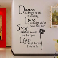 Dance Love Sing Live Flower bedroom Quote Wall Stickers Art Removable Decal DIY