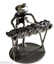 Frog Keyboard Player Hand Crafted Recycled Metal Rock Band Art Sculpture