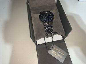Bulova 96D148 Men's Diamond Accented Multi-Function Black Dial SS Watch *READ DE