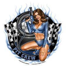"Hot Sexy Brunette Pit Crew Girl Racing Vinyl Sticker 5-1/8"""