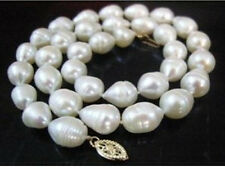 """18"""" HUGE 11-13MM REAL SOUTH SEA WHITE PEARL NECKLACE 14k"""