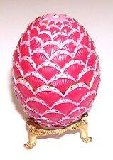 Trinket Box Vanity Rhinestones Scalloped Pink Novelty Egg