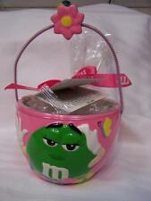 GREEN - 2004 M&M's Spring Ceramic Candy Bowl w/ Handle Mint Condition/ No Candy