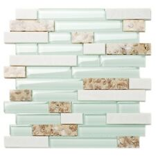 Sea Green Glass White Stone Shell Tiles Mother of Pearl Inlay Beach Style decor