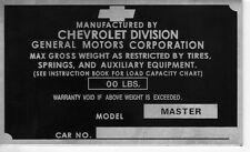 1946 1947 1948 1949 1950 1951 1952 1953 1954 MASTER CHEVY TRUCK CAR TAG PLAQUE