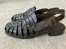 Womens Brown Sling Back Sandals by Predictions Leather Size 10