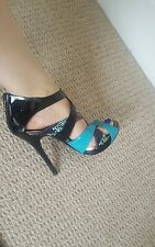 ALDO Sexy Strappy Blue Black Snake Print High Heels Sandals Size 5