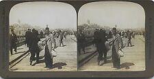 Constantinople Pont Galata Turquie Photo Stéréo Stereoview Vintage