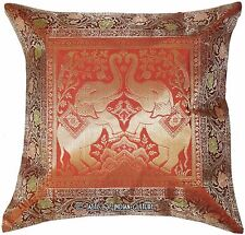 "17"" Brown Pillow Cushion Cover Silk Brocade Sofa Ethnic Throw Indian Decorative"