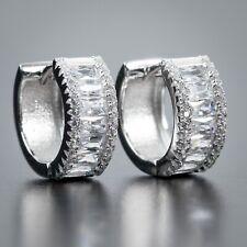 Iced Cz Baguette Huggie Hoop Earrings Mens Small 925 Sterling Silver Fully