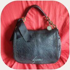 Lanvin Black Front Flap Chain Link Bow Grained Leather Shoulder Bag