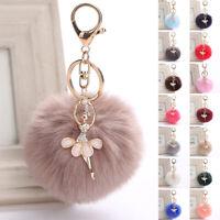 Real Large Fox Fur Pompom Keychain Ball Fluffy Fur Pendant Charm Bag Car Keyring