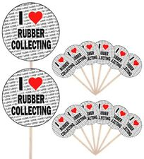 I Love Rubber Collecting Party Food Cup Cake Picks Flags Decorations Toppers