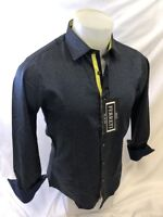 Mens FERRETI By BARABAS Designer Dress Shirt BROWN NAVY UNTUCK DOT SLIM FIT 4315