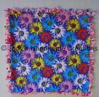HANDMADE BABY / PET MINI FLEECE TIED SECURITY BLANKET - PURPLE FLOWERS 17 X 17