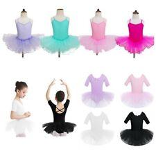 Girls Gymnastics Dress Kids Ballerina Dance Tulle Tutu Skirt Performance Costume