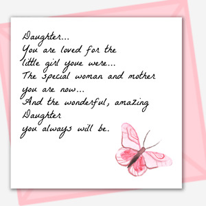 DAUGHTER BIRTHDAY CARD Quote Saying Pink Butterfly Inside Message Options
