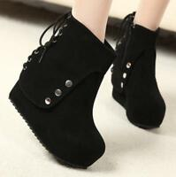Women Platform Lace Up Wedge High Heel Creeper Fashion Ankle Boots Zip New Shoes