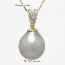 10.2mm Chartreuse Tahitian Pearl Pendant Sets 14k Yellow Gold Bale & 3 Diamonds